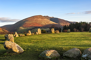 Castlerigg Stone Circle, Saddleback (Blencathra) behind, Keswick, Lake District National Park, UNESCO World Heritage Site, Cumbria, England, United Kingdom, Europe