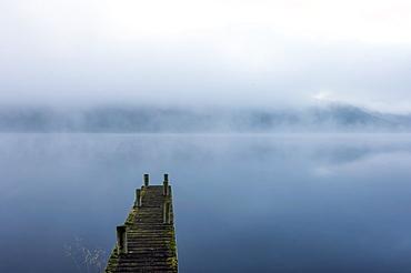 Morning mist, Ullswater, Lake District National Park, UNESCO World Heritage Site, Cumbria, England, United Kingdom, Europe