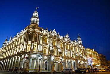 The Gran Teatro (Grand Theater) illuminated at night, Havana, Cuba, West Indies, Caribbean, Central America