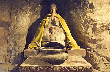 Buddha statue in grotto, Tanzhe Temple, Beijing, China, Asia