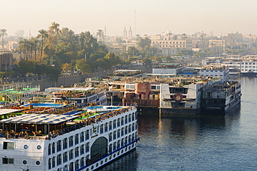 Cruise ships on the River Nile, Luxor, Egypt, North Africa, Africa