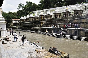 Bagmati River, Pashupatinath temple, UNESCO World Heritage Site, Kathmandu, Bagmati, Central Region, Nepal, Asia