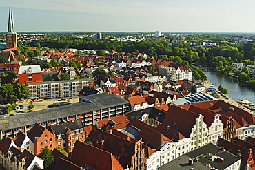 Aerial view of Lubeck, Schleswig-Holstein, Germany, Europe