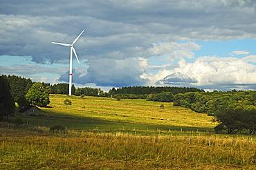 Wind turbine, Westerwald, Rhineland-Palatinate, Germany, Europe
