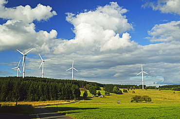 Wind turbines, Westerwald, Rhineland-Palatinate, Germany, Europe