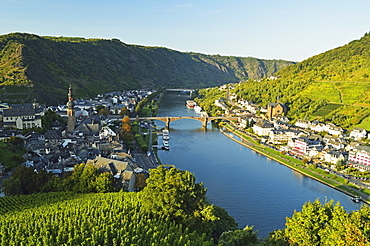 View of Cochem and Moselle River (Mosel), Rhineland-Palatinate, Germany, Europe