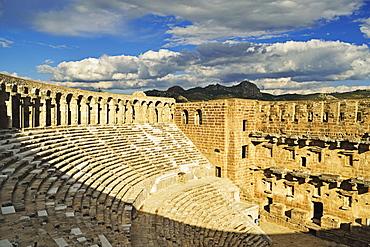 Roman Theatre and Taurus Mountains, Aspendos, Antalya Province, Anatolia, Turkey, Asia Minor, Eurasia