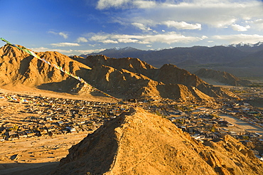 Peak of Victory and the town of Leh, Ladakh, Indian Himalayas, India, Asia