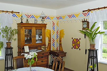 Interior of a traditional Latvian house circa 1925 from the Vidzeme region, Latvian Open Air Ethnographic Museum (Latvijas etnografiskais brivdabas muzejs), near Riga, Latvia, Baltic States, Europe