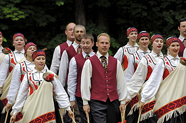 Traditional Latvian folk dancing, performed at the Latvian Open Air Ethnographic Museum (Latvijas etnografiskais brivdabas muzejs), near Riga, Latvia, Baltic States, Europe