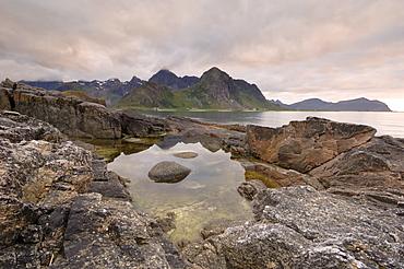 Dusk over Flakstad, Flakstadoya, Lofoten Islands, Norway, Scandinavia, Europe