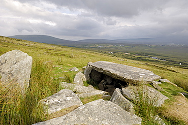 Megalithic tomb on the slopes of Slievemore mountain, Achill Island, County Mayo, Connacht, Republic of Ireland, Europe