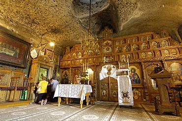 Namaesti monastery church, built into the rock, Namaesti, near Campulung Muscel, Wallachia, Romania, Europe