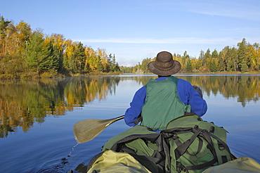 Canoeing on Hoe Lake, Boundary Waters Canoe Area Wilderness, Superior National Forest, Minnesota, United States of America, North America