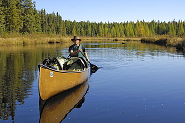 Canoeing on the Louse River, Boundary Waters Canoe Area Wilderness, Superior National Forest, Minnesota, United States of America, North America