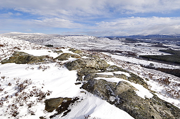 Spey Valley in winter, from Creag Bheag, near Kingussie, Highlands, Scotland, United Kingdom, Europe