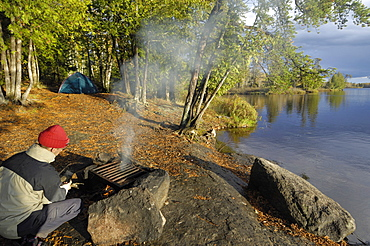 Camp on Malberg Lake, Boundary Waters Canoe Area Wilderness, Superior National Forest, Minnesota, United States of America, North America