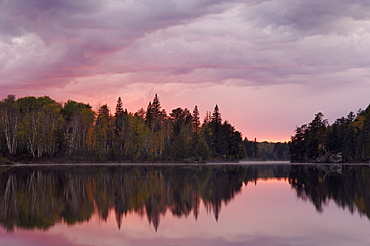 Sunset over Malberg Lake, Boundary Waters Canoe Area Wilderness, Superior National Forest, Minnesota, United States of America, North America