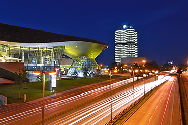 BMW Welt and Headquarters illuminated at night, Munich (Munchen), Bavaria, Germany, Europe