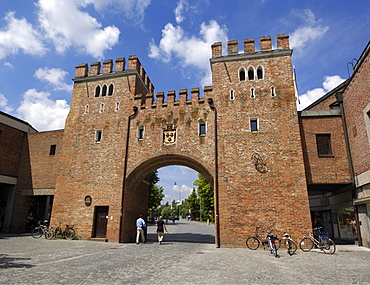 Landtor, Gate tower in the city walls, Landshut, Bavaria, Germany, Europe