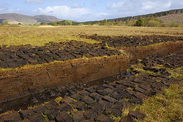 Peat cutting, Isle of Skye, Inner Hebrides, Scotland, United Kingdom, Europe