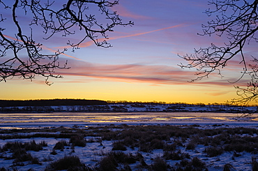 Fleet Bay in winter snow, Solway Firth, Dumfries and Galloway, Scotland, United Kingdom, Europe