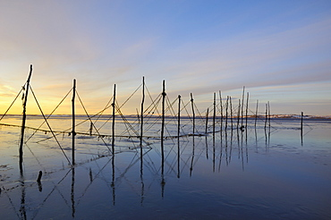 Salmon fishing nets, Solway Firth, near Creetown, Dumfries and Galloway, Scotland, United Kingdom, Europe