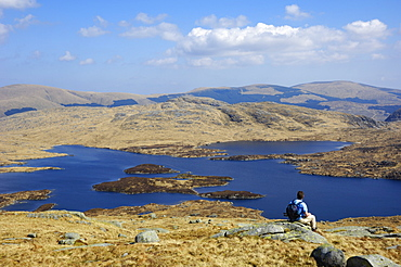 Loch Enoch from Merrick, Galloway Hills, Dumfries and Galloway, Scotland, United Kingdom, Europe