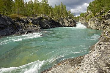 Pollfoss waterfall, Otta River, Oppland, Norway, Scandinavia, Europe