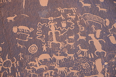 Ancient Indian rock art, petroglyphs, Newspaper Rock, near The Needles section of Canyonlands National Park, Utah, United States of America, North America