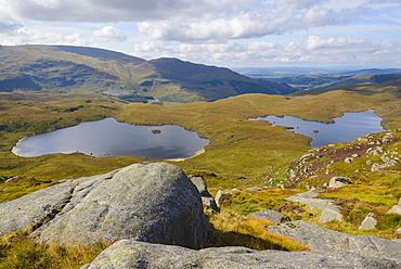 View over the Glenhead Lochs from Rig of the Jarkness, Galloway Hills, Dumfries and Galloway, Scotland, United Kingdom, Europe