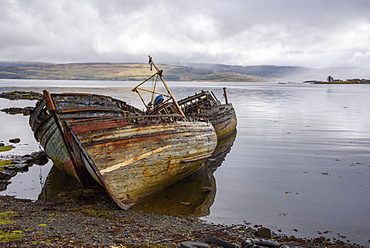Wrecks of fishing boats, near Salen, Isle of Mull, Inner Hebrides, Argyll and Bute, Scotland, United Kingdom, Europe