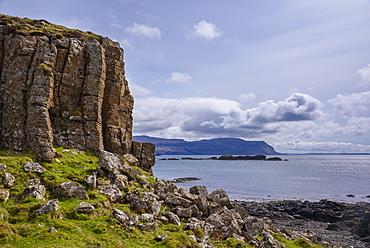 Basalt columns, rock formation, cliffs on Isle of Ulva, Inner Hebrides, Argyll and Bute, Scotland, United Kingdom, Europe