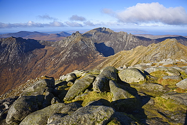 View of the Northern Mountains from the top of Goatfell, Isle of Arran, North Ayrshire, Scotland, United Kingdom, Europe