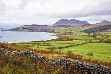Tormore and Machrie Bay, looking towards Beinn Bharrain, Isle of Arran, North Ayrshire, Scotland, United Kingdom, Europe