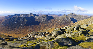 Panoramic view of the Northern Mountains from the top of Goatfell, Isle of Arran, North Ayrshire, Scotland, United Kingdom, Europe