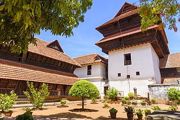 Padmanabhapuram Palace, traditional Keralan architecture, Tamil Nadu, India, South Asia