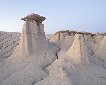Hoodoos and erosion drainage, Bisti Wilderness, New Mexico, United States of America, North America