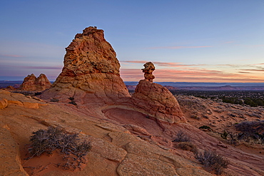 Sandstone formations at dawn with pink clouds, Coyote Buttes Wilderness, Vermilion Cliffs National Monument, Arizona, United States of America, North America