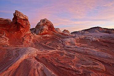 White and pink sandstone ridges, White Pocket, Vermilion Cliffs National Monument, Arizona, United States of America, North America