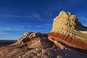White, tan, and red sandstone butte, White Pocket, Vermilion Cliffs National Monument, Arizona, United States of America, North America