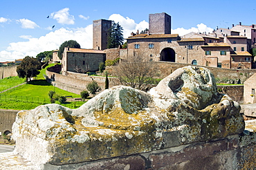 View of Tuscania from Piazza Bastianini and Etruscan sarcophagus, Tuscania, Viterbo Province, Latium, Italy, Europe