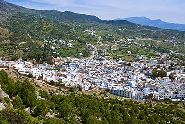 View of the city, Chefchaouen (Chaouen), Tangeri-Tetouan Region, Rif Mountains, Morocco, North Africa, Africa