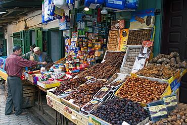 Dried fruit seller, street market, Medina, Tetouan, UNESCO World Heritage Site, Morocco, North Africa, Africa - 765-1410