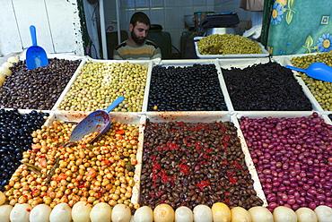 Olive seller, street market, Medina, Tetouan, UNESCO World Heritage Site, Morocco, North Africa, Africa