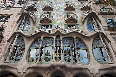 Facade of Casa Batllo by Gaudi, UNESCO World Heritage Site, Passeig de Gracia, Barcelona, Catalunya (Catalonia) (Cataluna), Spain, Europe