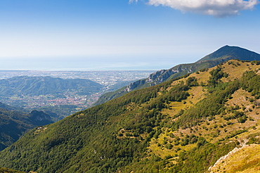 View of Camaiore and Tyrrhenian Sea from Apuan Alps (Alpi Apuane), Lucca Province, Tuscany, Italy, Europe