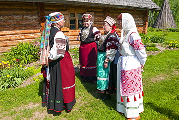 Seto women in traditional costume, Seto Farm Museum, Varska, Estonia, Baltic States, Europe