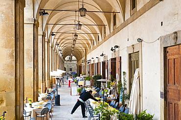 Restaurants at Loggia of Vasari, Piazza Vasari or Piazza Grande, Arezzo, Tuscany, Italy, Europe