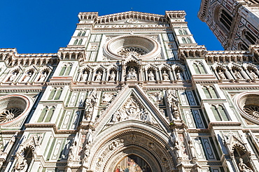 Facade of the Cathedral Santa Maria del Fiore, Florence (Firenze), UNESCO World Heritage Site, Tuscany, Italy, Europe